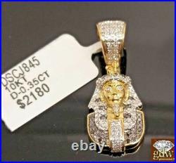 Real 10k Gold Genuine Diamonds Pharaoh Head Charm Pendant Men Women REAL