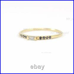 Real Black Diamond & Baguette Diamond Solitaire Ring Solid 14K Yellow Gold Fine