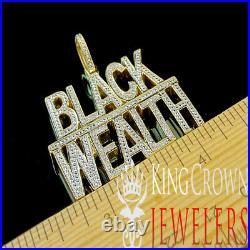 Real Genuine Diamond BLACK WEALTH 10K Yellow Gold Finish Pendant Custom Charm