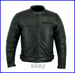 Real Leather Black Motorcycle Jacket Diamond Stitched Biker Removeable CE Armors