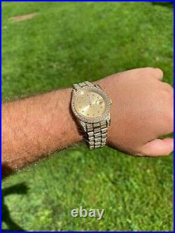Real Men's Presidential 14k Gold Over Stainless S. Watch Iced 12ct Out Diamond