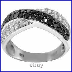 Real Pave Black & White Diamond 9ct 375 Solid White Gold Ring- Bravo Jewellery