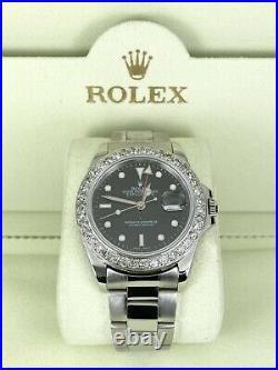 Rolex 40mm Men's Explorer II Black Dial 2ct Genuine Diamond Bezel Ref 16570