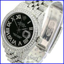 Rolex Datejust Black Roman Fully Loaded Genuine Diamonds 36mm Watch