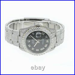 Rolex Datejust Mens Watch Iced Out All Real Diamonds Black Sunbust Roman Dial
