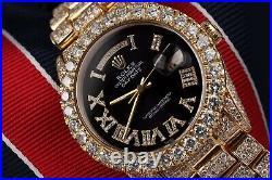 Rolex Day-Date 18038 Genuine Diamonds Black Roman Dial Presidential Bracelet