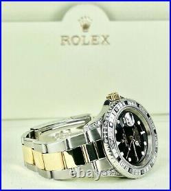 Rolex Submariner 40mm 2-Tone 18k Gold Steel 3ct Genuine Diamond Bezel Ref 16613