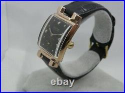 Rose Gold & Diamonds Gruen Curvex 440. Genuine Crocodile Skin Strap Also