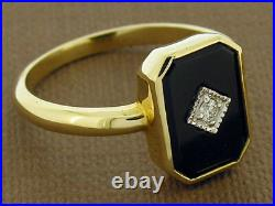 S Genuine 9ct SOLID Yellow Gold Natural Onyx & Diamond MOURNING Ring size 7