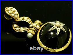 S Genuine 9ct Yellow Gold NATURAL Onyx & Pearl Vintage style Pendant LAST ONE