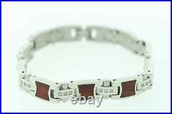 SHR & Simmons Stainless Steel with Wood Inlay &. 20ctw Genuine Diamond Bracelet
