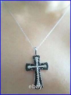 Solid 10K White Gold Genuine BLACK & WHITE DIAMOND CROSS Pendant Necklace