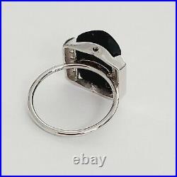 Solid 14K White Gold Genuine DIAMONDS Black Onyx VERSACE Style MEDUSA Ring 3.5