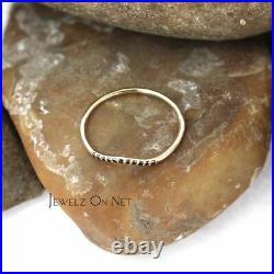 Solid Gold 0.07 Ct. Genuine Black Diamond Chevron Design Ring Fine Jewelry
