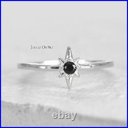 Solid Gold 0.10 Ct. Genuine Black Diamond North Star Stacking Ring Fine Jewelry