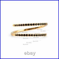 Solid Gold 0.24 Ct. Genuine Black Diamond Open Wrap Ring Fine Jewelry