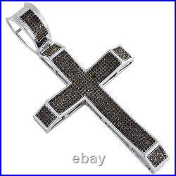 Sterling Silver Real Black Diamond Cross Pendant 3.30 Mens Pave Charm 1.81 CT