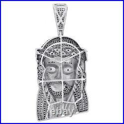 Sterling Silver Real Black Diamond Jesus Face Pendant 2.50 Mens Pave Charm 1 CT