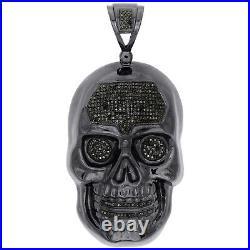 Sterling Silver Real Black Diamond Skull Head Pendant 3 Mens Pave Charm 2.15 CT