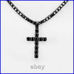 Tennis Chain W. Cross Solid Real 925 Sterling Silver 4mm Black Diamonds 1 Row
