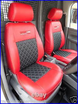 VW Caddy Van Tailored Seat Covers Red with Black Diamond centres Genuine Fit