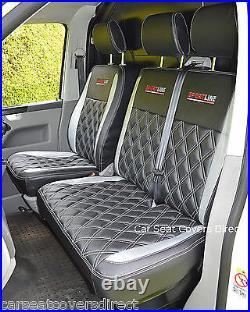 Volkswagen VW Transporter T5 Genuine Fit Van Seat Covers Black & Silver Diamonds