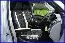 Volkswagen VW Transporter T5 Genuine Fit Van Seat Covers Black White Diamonds