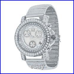 White Gold Tone Real Diamonds Joe Rodeo Cluster Bezel Custom Band Watch WithDate