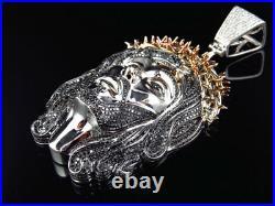 White Gold with Rose Gold Genuine Diamond XL Jesus Head Pendant Piece 3.5 Inch